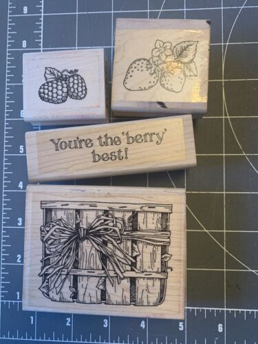 USED Lot Of 4 1995 Berry Best Wood Mounted Rubber-stamps Stamping Up  - $10.00
