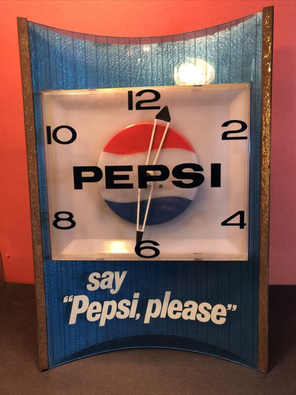 "Vintage 1960s  LIGHTED PEPSI CLOCK ""Say Pepsi Please"" Wall Sign"