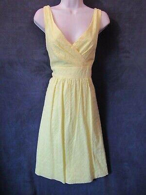 Chaps Yellow Cotton Embroidered Eyelet Sleeveless Empire Waist Summer Dress 16 Yellow Cotton Dress