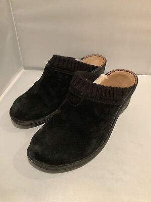 Ugg w Gael Women's Black Suede Leather Mules Clogs Slides ~ Sz 9 for sale  Briarcliff Manor