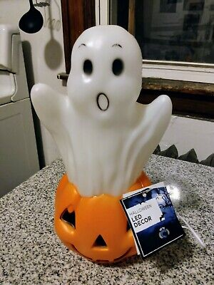 Reproduction Halloween Blow Mold Color Changing Light Ghost & Pumpkin NEW w tag