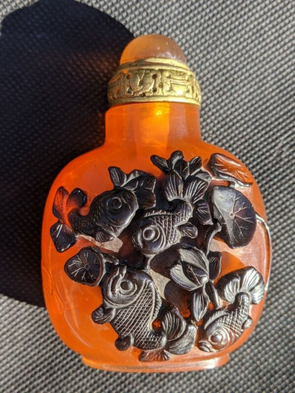 Antique Chinese Snuff Bottle with High Relief Carps,  Lotus Flowers and Poem