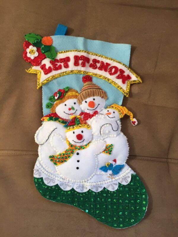 "Handmade 18"" Bucilla Stocking - Let It Snow"