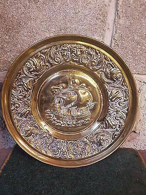 Vintage Victorian Brass Embossed Galleon with Oars Scene Wall Plaque