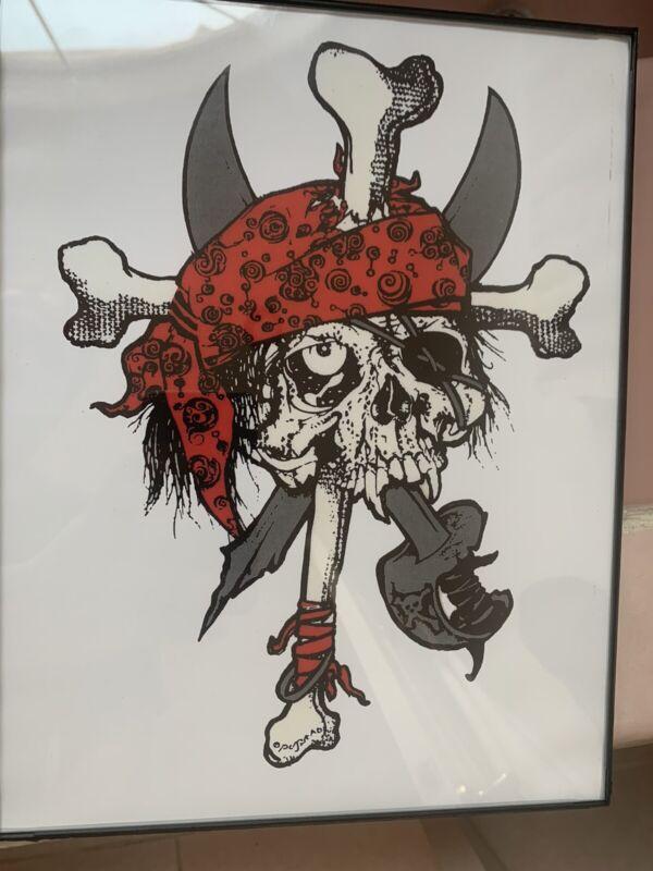 Zorlac Skateboard pirate Red Framed in 8x11.