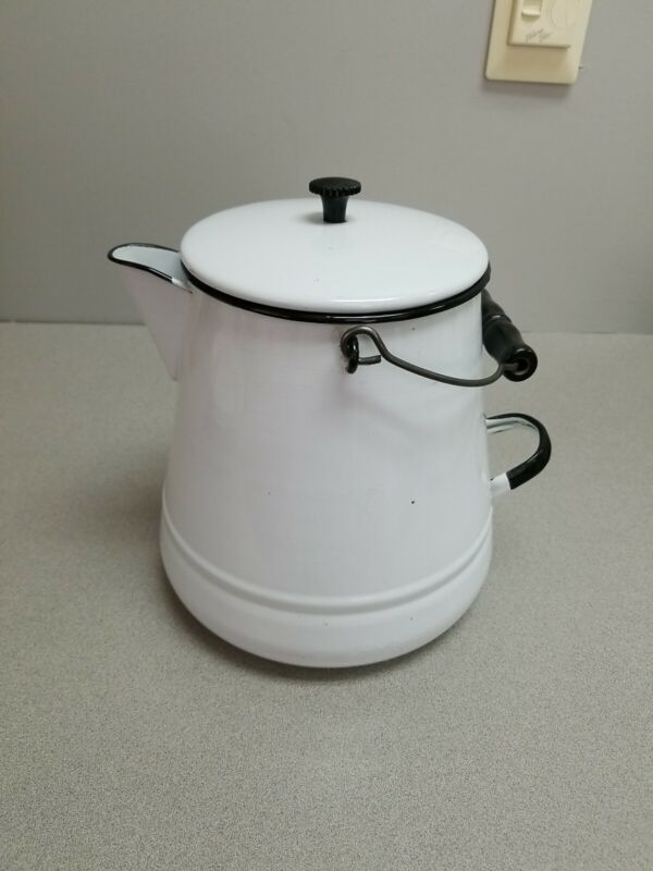 Large Vintage Enameld Ware White Black Cowboy Coffee Pot
