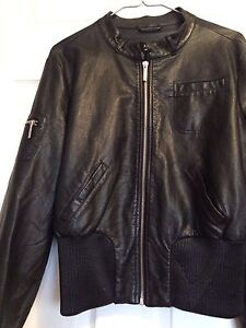 Woman's black leather jacket $5.