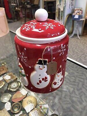 Vintage Hallmark Snowman Cookie Jar Red & White Snowflakes Christmas Cookie Jar