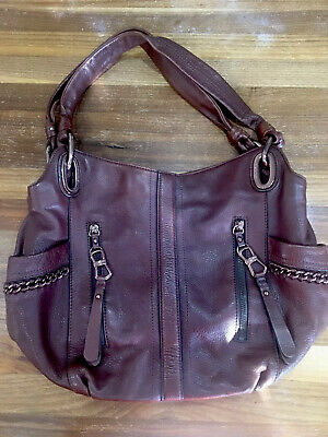 B Makowsky Choc Brown/wine Leather Hobo Handbag