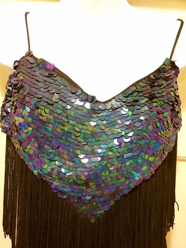 Women's  Rhythm Ballroom Dance Dress Black Layered Fringe W/Blue Sequin Top 10