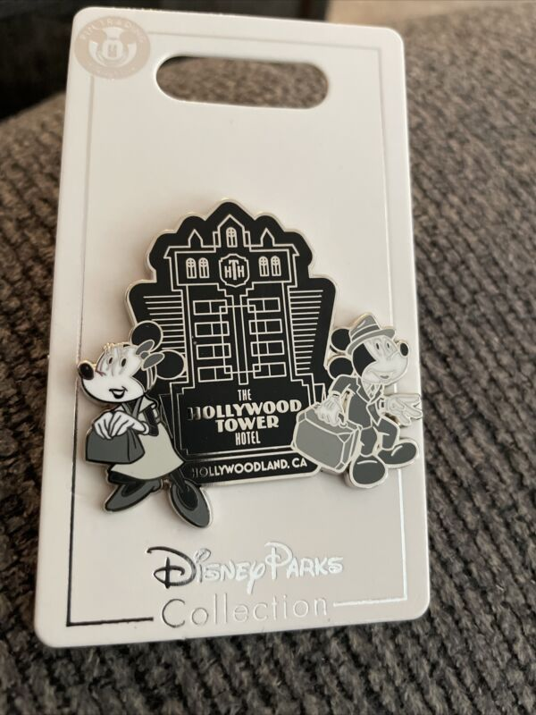 Disney's The Hollywood Tower Hotel Mickey & Minnie Black & White Pin