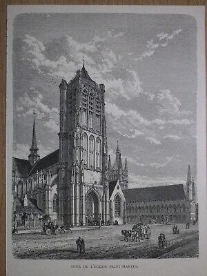 Gravure de presse 1890,Ypres, tour de l'Eglise Saint-Martin