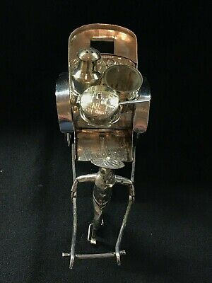 Chinese Silver Novelty Condiment Set. Man Pulling Cart. Early 20th Century