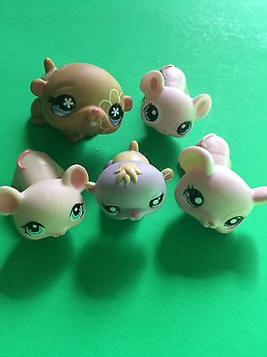 Littlest Pet Shop Lot Of Mice And Hamster Pink Purple Brown Lps Euc Ships $0