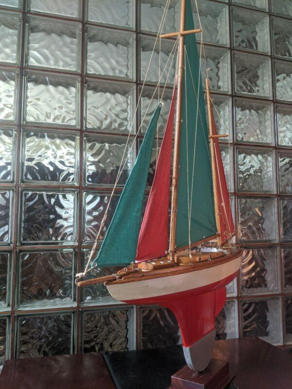 """Gorgeous VINTAGE Solid Wood Pond Yacht model sailboat. Portuguese sails 46""""x 33"""""""