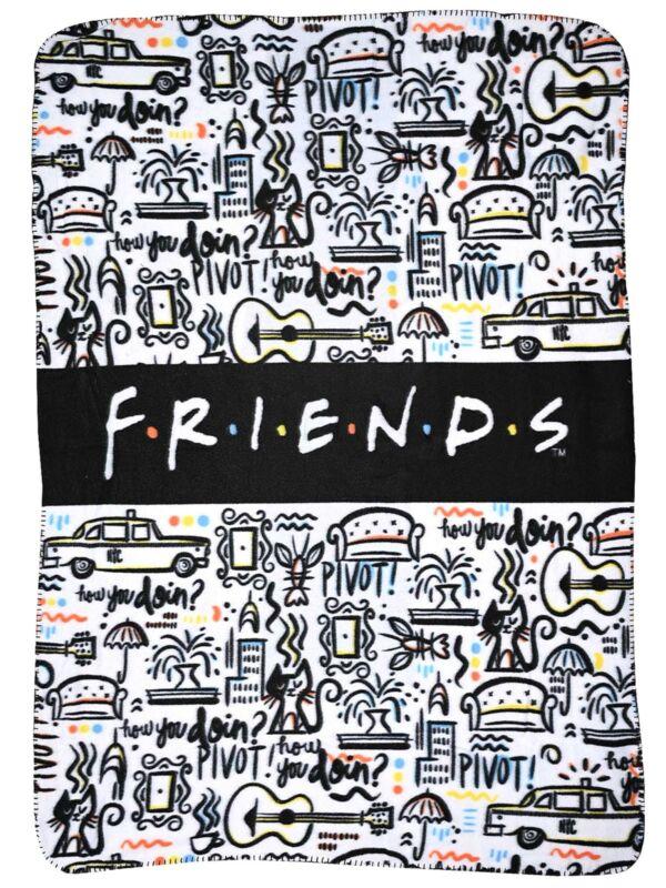 "Friends TV Show Logo Fleece Throw Blanket 45"" x 60"" Cafe Taxi Cat White"