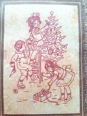 Tree Trimming Party (Lakadaisies R211 CHRISTMAS TREE TRIMMING PARTY Redwork embroidery )
