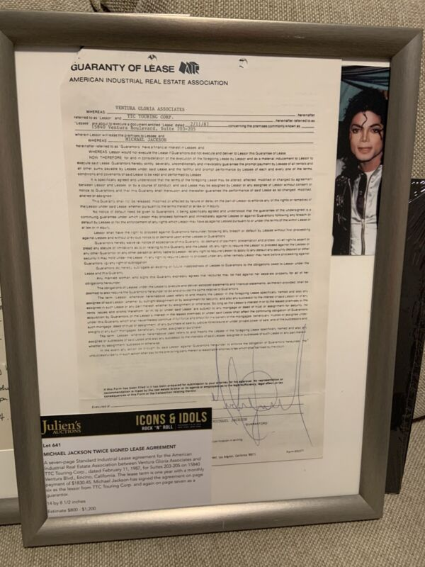 Michael Jackson twice signed lease agreement! Comes with proof/ papers Julians!