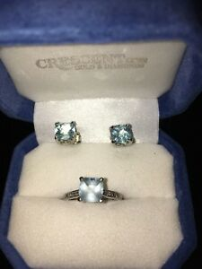 Sapphire & Diamond Ring/Matching Earrings White Gold Ring Size 6