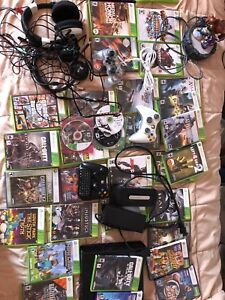 Xbox 360 slim tons of games headsets and controllers
