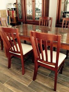 Solid wood table with six chairs Casula Liverpool Area Preview