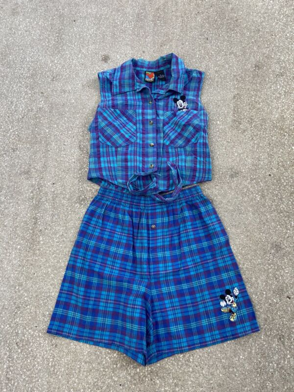 Vtg 90s Womens Mickey Unlimited 2 Piece Plaid Set Size Small