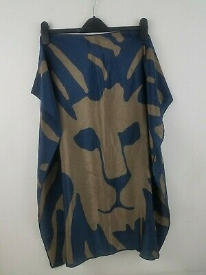 "Anne Klein Womens Silk Scarf Brown Blue Lion Face Logo Signature 30"" Square"