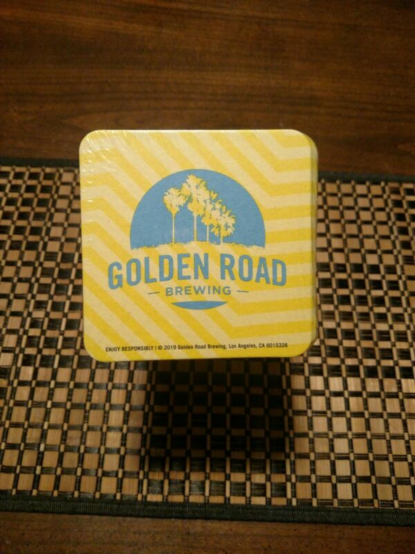 "Sleeve Of 125 Yellow Golden Road Brewing Coasters. 4X4"" Brand New."
