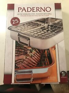 Paderno 40cm Stainless Steel Roaster with Grill