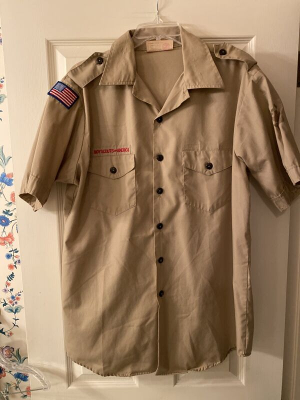 Boy Scout BSA UNIFORM SHIRT Mens Large Short Sleeve Tan C22