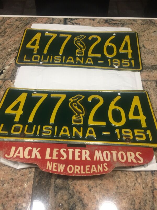 Matching Pair 1951 Louisiana License Plates With Original Topper