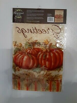 "Fall Greetings Pumpkins Garden Flag Primitive Autumn 12.5"" x 18"" Briarwood Lane"