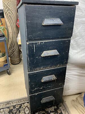 Vintage Wood File Cabinet 4 Drawer