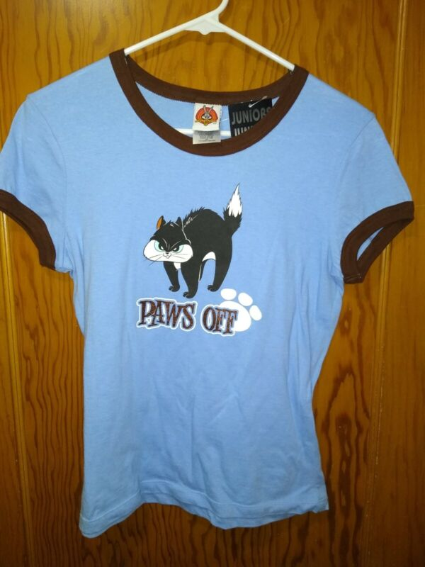 New Vtg Looney Tunes Penelope Cat Juniors Large Shirt NWT Paws Off Pepe Le PE