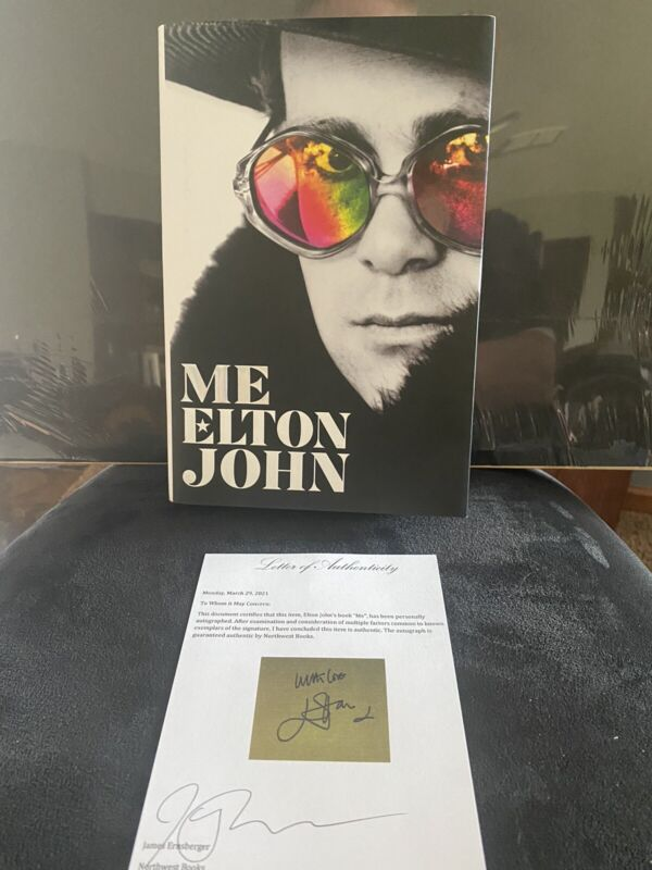 """ELTON JOHN SIGNED BOOK """"ME"""" WITH LETTER OF AUTHENTICITY"""