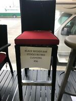 Black Wicker Bar Stool w/Pad restaurant kitchen dining bar Calgary Alberta Preview