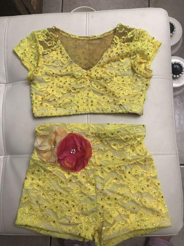Girls Yellow2pc Custom Lyrical Dance Costume Competition Dancewear