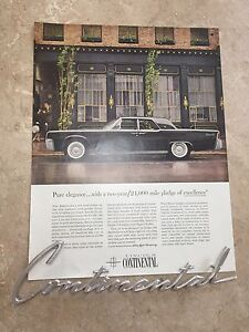 Lincoln Continental Badge and Original Ad
