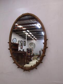 D17044 Large Vintage Gold Framed Oval Wall Mirror