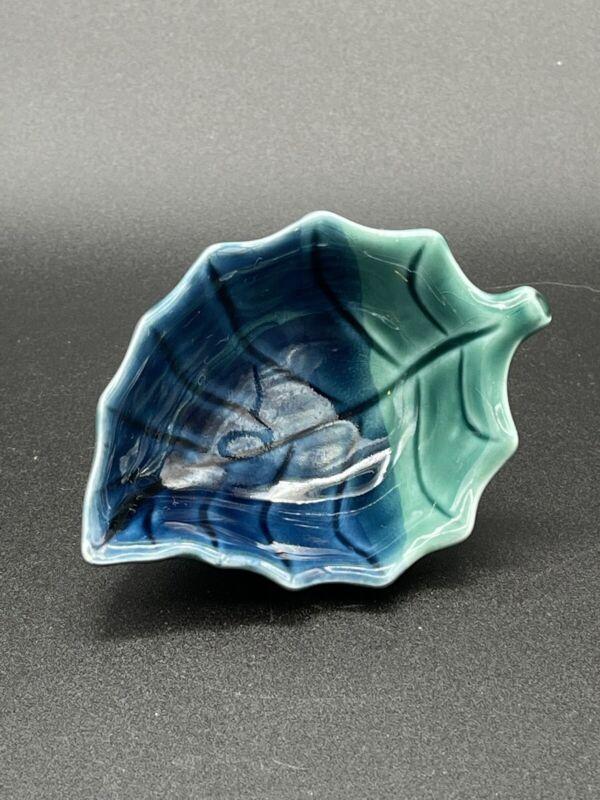 Vintage Green Blue Leaf Pattern Japan Small Decorative Glass Dish