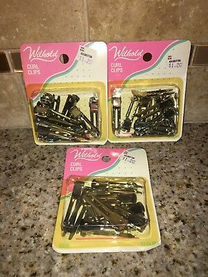 3-pack Haarspangen (Vintage 18.3ms-21.3ms Wilhold Locken Klammern Menge 3 Packungen 36 Insgesamt Neu)