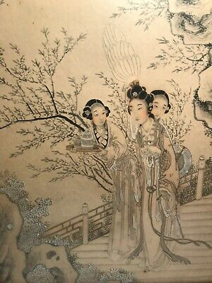 Superb 20th C. Chinese Hand Painted Watercolor & Ink Painting/Drawing of Women