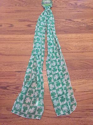 NWT St Patricks Day Shamrock Scarf Clothes Neck Wrap Green 8.7 x 61.8 in