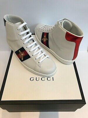 NEW GUCCI Men's Ace High-Top Sneakers. UK Size 8 EU 42. White with Gold Bee.