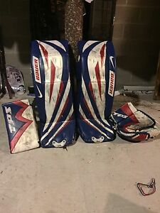 Pro goalie equipment. Matching glove/blocker pads. Rangers/Habs