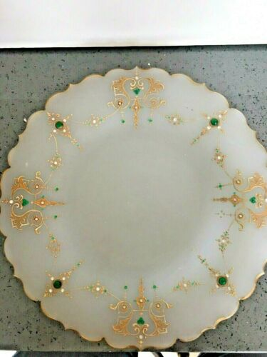 "Tiffin Translucent Plate w/Gold Trim, Emerald & Diamond Rhinestones 11.5""D  L207"