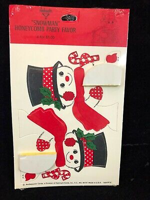 Vintage Hallmark Snowmen ~ Snowmen Honeycomb Party Favor ~ New 4 Per Pack
