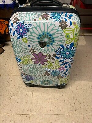 "Heys Carry On 21"" Spinner Hard Side Luggage With Pull Out Handle & Flower Design"