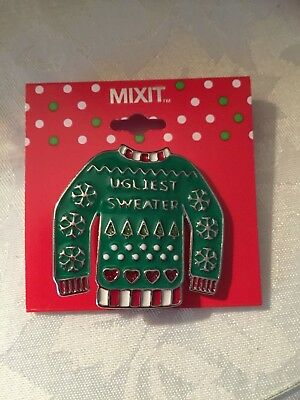 CHRISTMAS UGLIEST SWEATER ENAMEL BROOCH PIN NWT BY MIXIT for sale  Norman