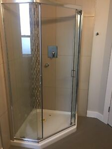 "NEW 36"" Neon Angle Shower Door"